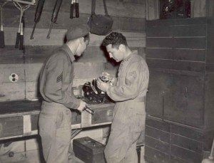 Two young man working in the workshop public domain image picture